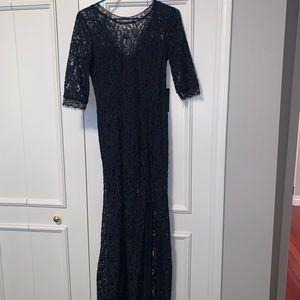 NWT Lulu's navy lace maxi dress, side slit